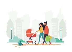 família com carrinho de bebê andando no parque da cidade. atividade ao ar livre. ilustração vetorial vetor
