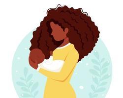 mulher negra com bebê. maternidade, conceito parental. dia das Mães. ilustração vetorial. vetor