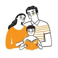 mamãe e papai observam seu adorável filho lendo um livro. vetor