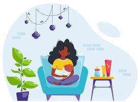 conceito de amamentação. mulher negra alimentando um bebê com mama, sentada na poltrona. dia mundial da amamentação. ilustração vetorial vetor