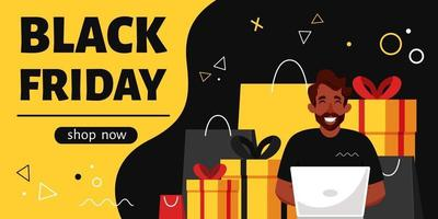 folheto de sexta-feira negra. homem negro com laptop, fazendo compras online. ilustração vetorial vetor