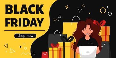 banner preto sexta-feira. mulher com laptop fazendo compras online. ilustração vetorial vetor