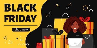 banner preto sexta-feira. mulher negra com laptop fazendo compras online. ilustração vetorial vetor