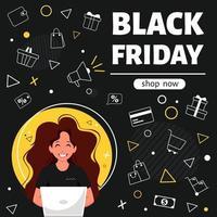 banner preto sexta-feira. mulher com laptop fazendo compras online. ilustração vetorial em estilo simples. vetor
