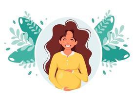 mulher grávida. gravidez, conceito de maternidade. ilustração vetorial. vetor
