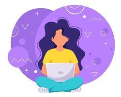 mulher trabalhando no laptop. freelance, estudo online, trabalho remoto. ilustração vetorial vetor