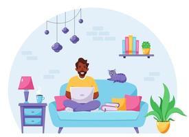 homem negro sentado em um sofá e trabalhando no laptop. freelancer, conceito de escritório em casa. ilustração vetorial vetor