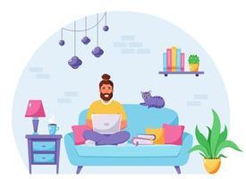 homem sentado em um sofá e trabalhando no laptop. freelancer, conceito de escritório em casa. ilustração vetorial vetor