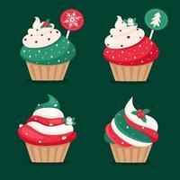 cupcakes de natal. ilustrações vetoriais de feliz Natal. vetor