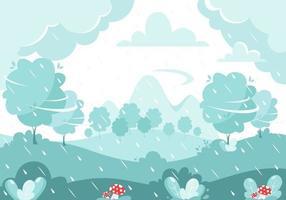 chuva de outono no fundo da natureza. dia chuvoso e ventoso. cogumelos de outono. vetor