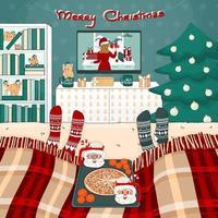 pizza de natal, chocolate quente com marshmallows, aparelho de tv, estante de livros, árvore, cama com manta, brinquedos, presentes estão no quarto. duas pessoas estão assistindo filmes sob o xadrez em meias de malha vetor