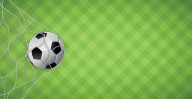 bola de futebol em uma rede de portões de futebol no fundo de um gramado verde - vetor