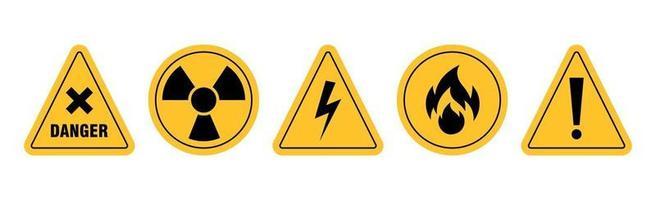 ícones de aviso de formas redondas e triangulares em fundo branco - ilustração vetorial vetor
