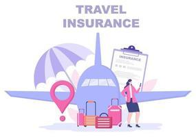 conceito de seguro de viagens e turismo para acidentes, proteger a saúde, riscos de emergência durante as férias. ilustração vetorial vetor
