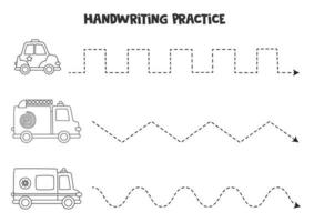 traçando linhas com transporte preto e branco. prática da escrita. vetor