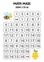 leve a abelha kawaii para a colmeia contando até 16. vetor