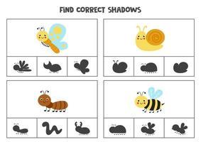 encontre a sombra correta. jogos de cartas de clipe para impressão para crianças. vetor
