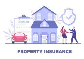 conceito de seguros imobiliários para imóveis, residências de diversas situações como desastres naturais, incêndio e outros. ilustração vetorial vetor