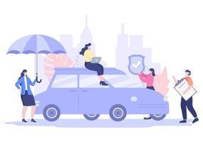 O conceito de seguro de carro pode ser usado como proteção para danos ao veículo e riscos de emergência. ilustração vetorial vetor