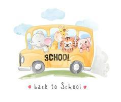 desenhos animados animais amigos no ônibus escolar vetor