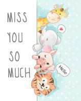 desenho animado animal amizade na ilustração de fundo polkadot
