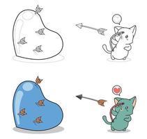 desenho de gato de arqueiro para colorir para crianças vetor