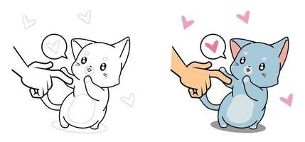adorável desenho de gato para colorir para crianças vetor