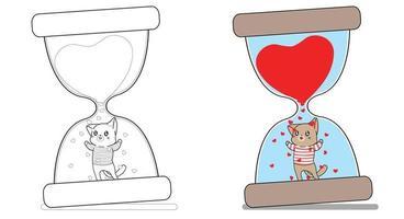 Gato adorável na página para colorir dos desenhos animados da ampulheta para crianças vetor