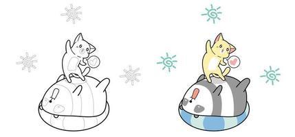 Desenhos animados adoráveis de gato e panda no dia de verão para colorir para crianças vetor