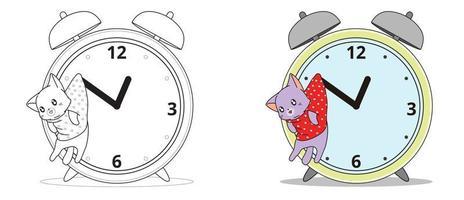 adorável desenho de gato e relógio para colorir para crianças vetor