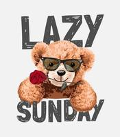 slogan preguiçoso de domingo com brinquedo de urso em óculos de sol com ilustração de rosa vetor