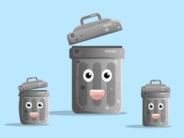 lata de lixo de personagem de desenho animado fofa, conjunto de design plano de lixeira vetor