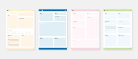 conjunto de modelo de planejador moderno. conjunto de planejador e lista de tarefas. modelo de planejador mensal, semanal e diário. ilustração vetorial. vetor