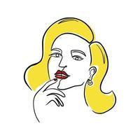 desenho de linha contínua retrato de mulher loira vetor