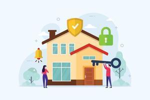 conceito de design de proteção de segurança residencial casa inteligente vetor