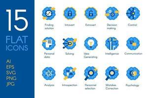 conjunto de ícones lisos de pensamento humano de atividade cerebral vetor