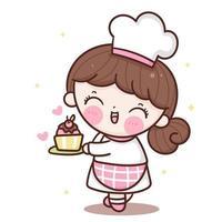 Desenho de chef de vetor de garota fofa com bolo de aniversário logotipo da padaria kawaii para sobremesa infantil comida caseira