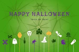 cartaz de feliz dia das bruxas com símbolos de férias de outono vetor
