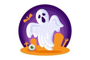 elemento de design de cartão de halloween com fantasma assustador vetor