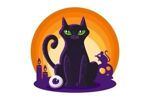 gato preto para cartão de halloween ou design de cartaz