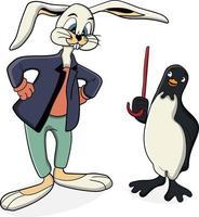 coelho e pinguim de desenho animado conversando vetor