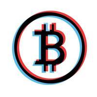 ilustração simples do conceito de moeda bitcoin de criptomoeda na Internet vetor