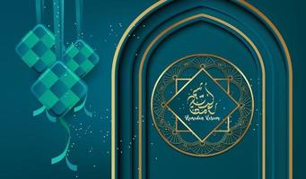 projeto do fundo ramadan kareem com ornamento islâmico de luxo. vetor