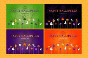 conjunto de fundo de halloween para cartaz, convite vetor