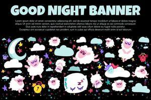banner de boa noite com ovelha plana vetor