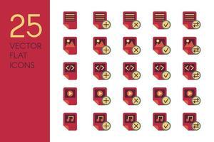 documentos e arquivos conjunto de ícones de vetor plano