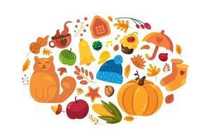 fundo de outono dos desenhos animados, símbolos de outono em branco vetor