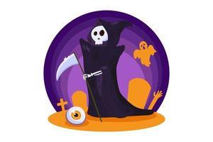 personagem da morte para decoração de noite de festa de halloween vetor