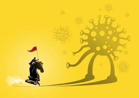 empresário cavalgando uma peça de xadrez em direção ao vírus vetor