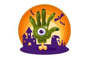 pôster de halloween com mão de zumbi em casa assombrada vetor